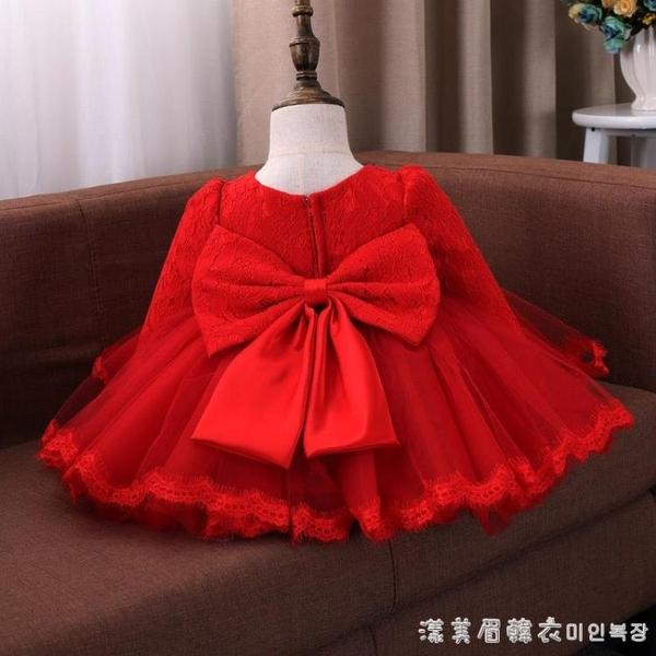 女童公主裙洋氣春秋兒童禮服周歲寶寶蓬蓬紗紅佯裝/連衣裙嬰兒裙子冬裝 美眉新品