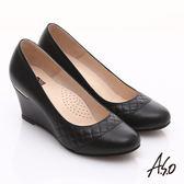 A.S.O 優雅時尚 真皮菱格壓紋金屬片楔型鞋 黑色