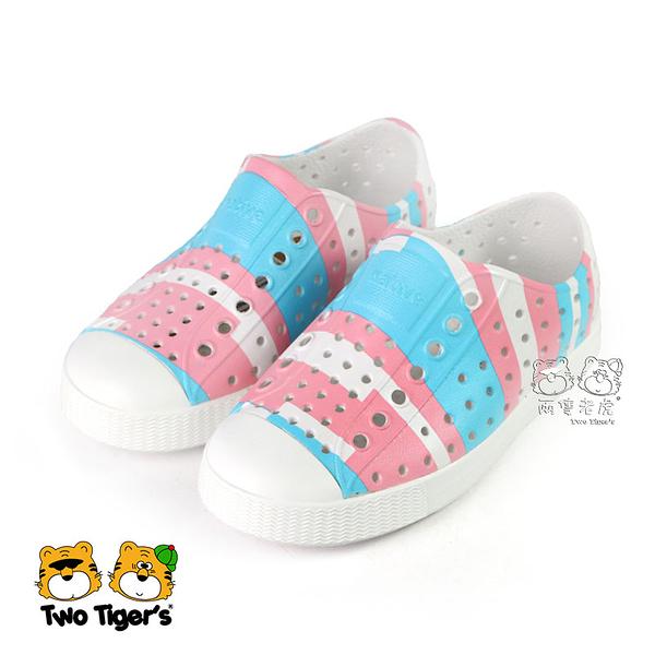 Native JEFFERSON PRINT 粉藍 奶油頭 洞洞鞋 小童鞋 NO.R5602