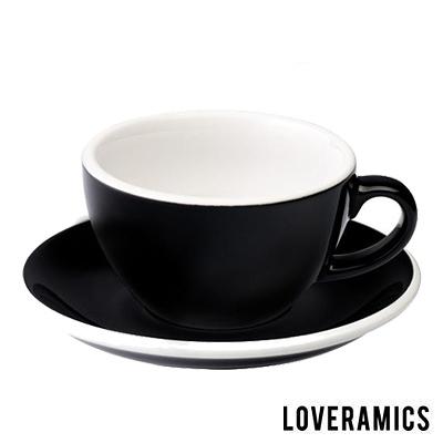 【LOVERAMICS 愛陶樂 】Egg 拿鐵咖啡杯盤組 200ml Black 黑色