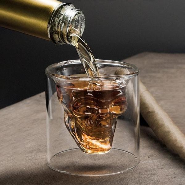 雙層玻璃酒杯洋酒威士忌創意紅酒雞尾酒個性骷髏頭酒瓶伏特加酒杯 - 風尚3C