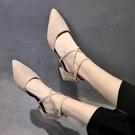 低跟鞋 尖頭單鞋女2020春夏季新款粗跟時尚百搭韓版低跟矮跟涼鞋淺