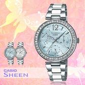 CASIO 手錶專賣店 卡西歐 SHEEN SHE-3042D-2A  女錶 指針錶 藍 白 施華洛世奇 不鏽鋼錶帶