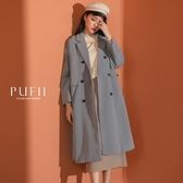 現貨◆PUFII-風衣 翻領排釦長版風衣外套-1029 秋【CP19370】