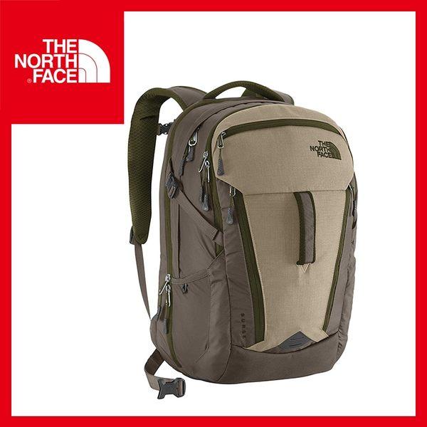【The North Face 30L 15吋電腦背包《灰棕/暗森林綠》】CLH0/休閒/旅遊/出國