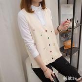 中大尺碼新款韓版毛衣背心潮寬鬆針織開衫馬甲女V領短款無袖坎肩 js9256『科炫3C』