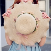 沙灘帽-女夏天韓版百搭防曬沙灘出游海邊大沿帽遮陽帽草帽太陽帽 花間公主
