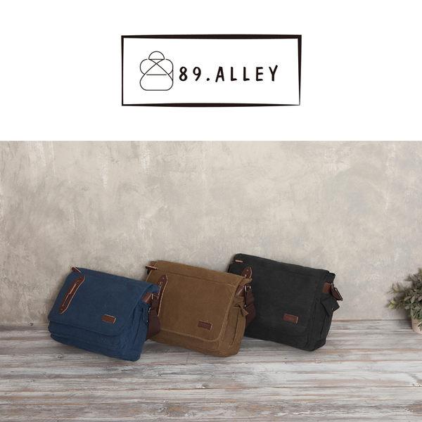 側背包 女包男包 帆布大容量款 韓版中性風情侶斜背電腦包 89.Alley ☀3色 HB89187