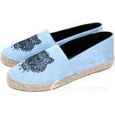 KENZO 麂絨布老虎圖騰草編便鞋(水藍色) 1530460-27