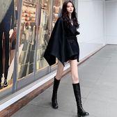 斗篷外套2018秋冬新款寬松不規則系帶斗篷呢子大衣中長款韓版毛呢外套女裝 米蘭世家