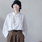 純棉復古兩面穿長袖襯衫 寬鬆翻領單排扣白襯衫-夢想家-1015