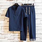 居士服夏季漢服套裝男短袖古風中國風潮流中式古裝男裝佛系禪服居士服潮 嬡孕哺 新品
