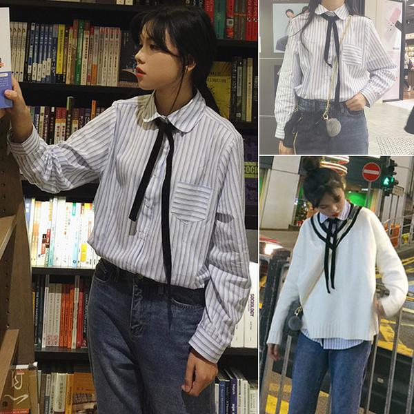 (免運)DE shop - 棉麻綁帶長袖襯衫 - CHI-210