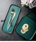 茶托盤 孔雀綠 陶瓷 金邊 托盤 西餐盤 擺盤 牛排盤 點心盤 蛋糕盤