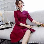 2018春夏新款韓版時尚百搭顯瘦女裝潮流長袖修身休閒洋裝 瑪麗蓮安