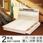 IHouse-阿爾圖 收納浮雕二件式房間組(床頭+六抽床底)-雙人5尺