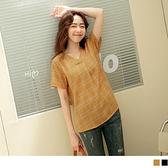 《AB15515》長版V領格紋線條造型打褶短袖上衣 OrangeBear