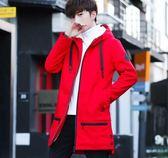 秋冬季風衣 男士中長款韓版外衣 修身學生外套 青少年加絨加厚大衣 休閑男裝 個性男款時尚衣服