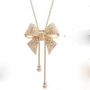 高貴蝴蝶結長款毛衣鏈 鑲鑽時尚百搭裝飾項鍊【B4010】