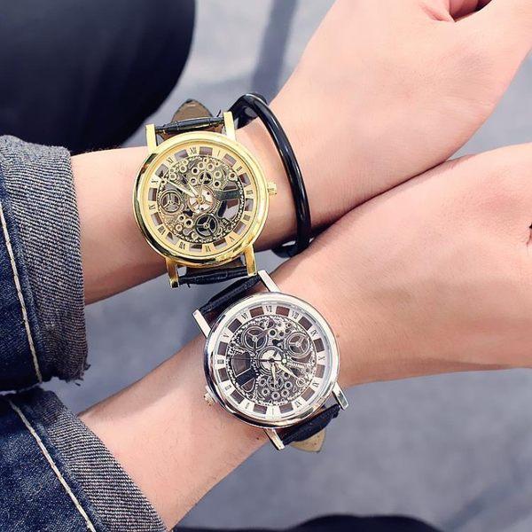 正韓時尚潮男士手錶防水皮質帶雙面鏤空非機械女學生石英情侶腕錶WY開學季,88折下殺