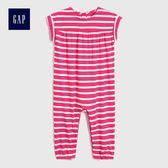 Gap女嬰兒 柔軟蝙蝠袖圓領一件式包屁衣 470887-糖豆粉色