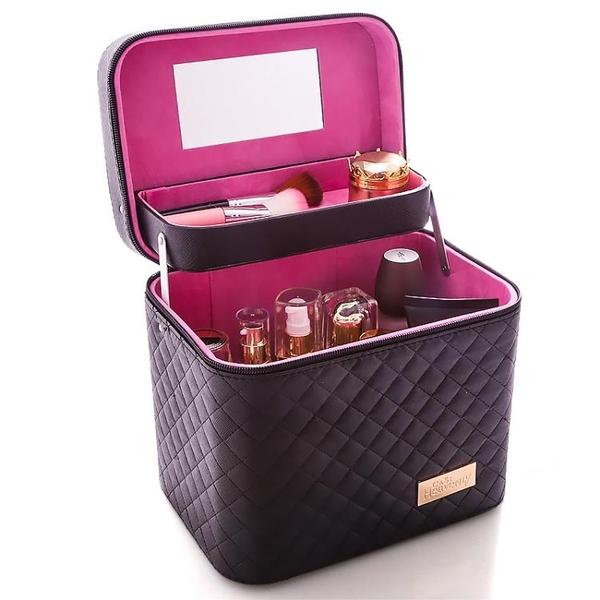 收納包大容量化妝包可愛小號方品中袋隨身便攜手提收納盒簡約化妝箱