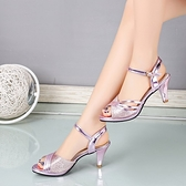 魚口鞋 一字扣帶淑女涼鞋女夏正韓新款中跟細跟性感魚口鞋百搭高跟鞋-Ballet朵朵