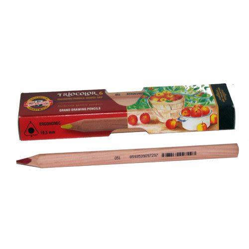 KOH-I-NOR高質感原木6色大三角油性色鉛筆*3151推薦良品