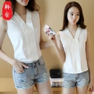 無袖洋裝OL職業正裝上衣新款韓版素色雪紡襯衫女無袖修身V領白襯衣女裝