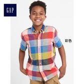 Gap男童 動感彩色方格短袖襯衫 249817-彩色