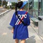 夏裝女裝韓版寬鬆百搭中長款數字條紋印花短袖T恤顯瘦上衣 Cocoa