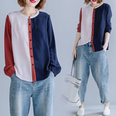 襯衫 秋裝大碼女裝襯衫女長袖2020新款胖mm顯瘦拼接減齡遮肚寬鬆襯衣潮