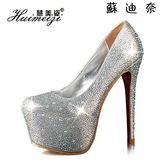 水鑽婚鞋防水台水晶鞋高跟鞋恨天高