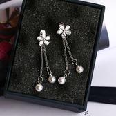 耳環 925銀針 珍珠鋯石花朵流蘇 耳針【Ann梨花安】