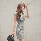 職業洋裝 夏季正韓時尚氣質修身顯瘦翻領ol職業無袖包臀連身裙女裝-Ballet朵朵