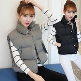 快速出貨 鋪棉外套 冬裝韓版保暖加厚短款棉背心馬甲女棉服棉衣外套純色立領面包服女