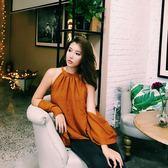 秋裝新款寬鬆純色T恤漏肩無袖露背上衣女慵懶風掛脖吊帶背心外穿