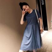 海外直發不退換韓版短袖洋裝法式9970#大碼女裝胖妹妹法國小眾很仙遮肚子顯瘦連衣裙(M3F 特1-A)