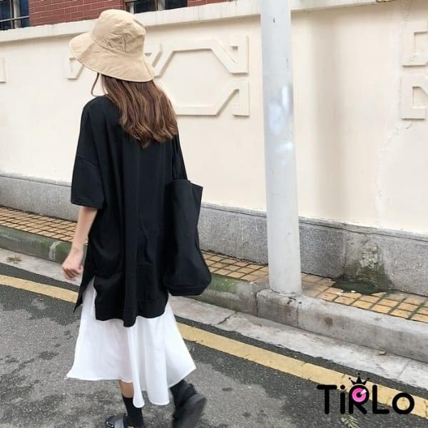連身裙-Tirlo-簡約黑白時尚拼接連身裙-一色(現+追加預計5-7工作天出貨)