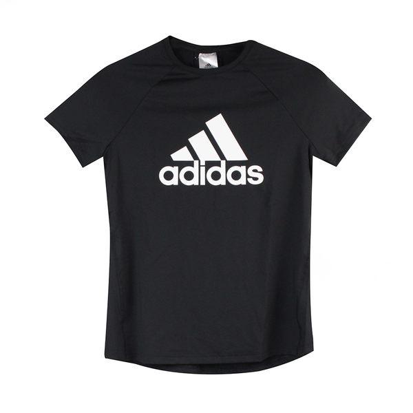 Adidas 女 D2M LOGO TEE 愛迪達 圓領T(短)- CW3878