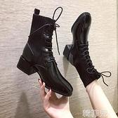短靴 馬丁靴女粗跟英倫風新款加絨襪靴短靴中跟網紅高跟彈力瘦瘦靴 韓菲兒