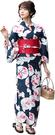 Nishiki【日本代購】和式浴衣+束腰帶2件套 女士成人用 - 藍底金魚