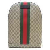 GUCCI 古馳 棕色緹花綠紅邊條後背包(附有電腦包) Web Backpack 442722 【BRAND OFF】
