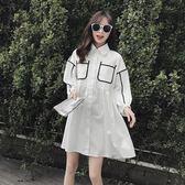 港味襯衫裙白色連身裙女小清新寬鬆高腰長袖娃娃裙a字裙子吾本良品