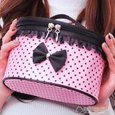 化妝包可愛大容量新款便攜手提防水化妝品專業收納盒折疊高檔   草莓妞妞