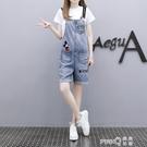 夏季2020新款韓版寬直筒薄款吊帶褲減齡顯瘦牛仔背帶短褲套裝女 (pinkq 時尚女裝)