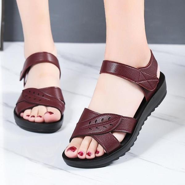 (免運)媽媽涼鞋女鞋夏季平跟軟底舒適奶奶老人防滑平底中年50歲中老年人