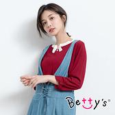 betty's貝蒂思 都會知性配色針織衫(紅色)