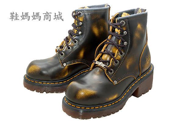 【鞋媽媽】[女]全新AE馬丁鞋*黑色黃花紋*6孔短靴*防滑防潑水*高跟款*ae190