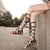 沙灘涼鞋 女2020年新款夏季涼靴百搭仙女風綁帶沙灘時裝長款平底羅馬鞋【百搭新款】